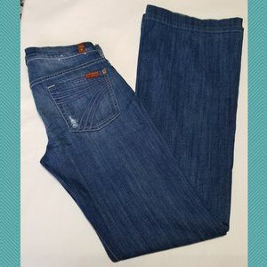 7 For All Mankind Distressed Dojo Flared Leg Jeans